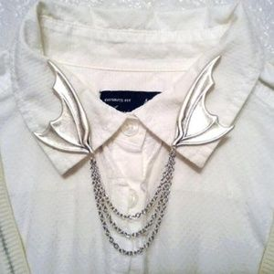 Handmade - ArtisanJewelryGifts Jewelry - Sterling Silver Bat Wing Collar Pins Collar Chain